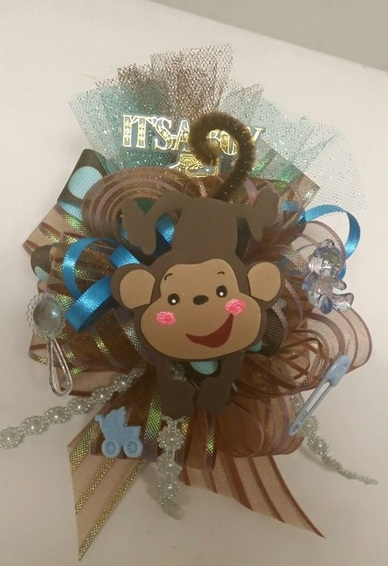 Wrist Baby Shower Corsage (Fisher Price Monkey)
